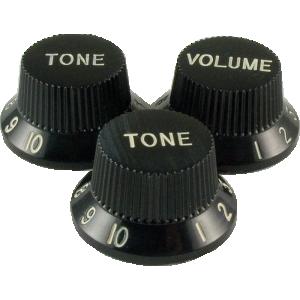 Knob - Stratocaster, 1 Volume, 2 Tone, Black