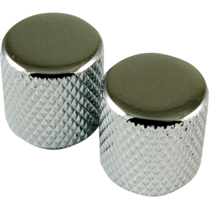 Knob - Telecaster, Metal, for Knurled Shaft, Chrome, Set of 2
