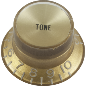 Knob - Top Hat, Gold with Gold Cap, Gibson Style