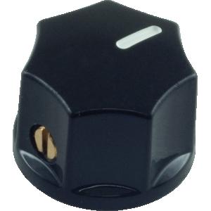 Mini Indicator Knob, 15mm x 11mm, set screw, Black