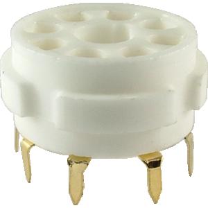 Socket - 8 Pin Octal, Ceramic, PC Mount, Gold Pins