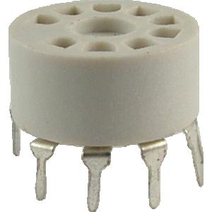 Socket - 9 Pin, Miniature, Plastic, PC Mount