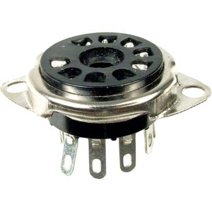 "Socket - 9 Pin, 3/4"" Chassis Hole, 1-1/8"" Mounting Centers"