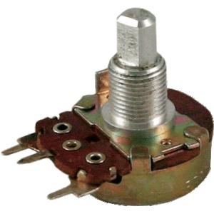 """Potentiometer - 100K Audio, 24mm, 3/8"""" Bushing, PC Mount"""