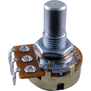 Potentiometer - Audio, 16mm, 1/4 in. Solid Shaft, Set Screw