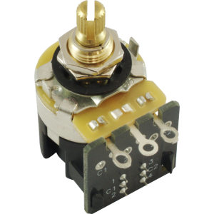 "Potentiometer - CTS, Audio, Knurled Shaft, .375"" Bushing, DPDT"