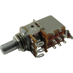 Potentiometer - Alpha, 1K Audio, DPDT Switch, Solid Shaft, 7mm Bushing