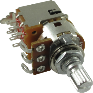 Potentiometer - Alpha, 250K Audio, DPDT Switch, Knurled, 7mm Bushing