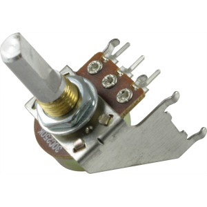 Potentiometer - Reverse Audio, D Shaft, 16mm, Snap-In, w/ Bracket