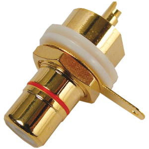 Jack - RCA Chassis Mount, Rear Mount, Gold Plated, Red