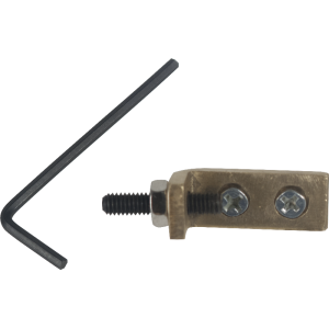 Tremolo Stopper - 1 brass block; 1 inner hexagon screw; 2 mounting screws; 1 allen key